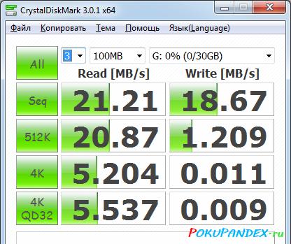 Тест ADATA 32Gb Class 10 - CrystalDiskMark