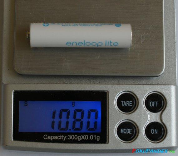 Вес eneloop Lite AAA HR-4UQ 600 mAh