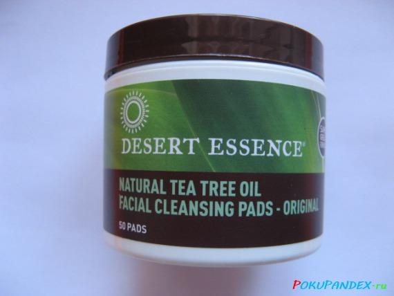 Desert Essence, Natural Tea Tree Oil Facial Cleansing Pads, очищающие диски с маслом чайного дерева