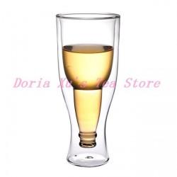 Стакан для пива с уникальным дизайном - Upside Down Bottle Double Wall Glass Cup