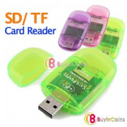 USB 2.0 SD / Micro SD T-Flash Memory Card Reader