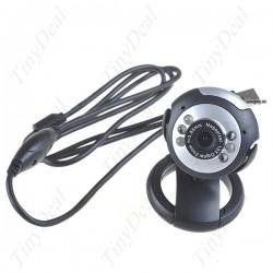 Цифровая вебкамера + микрофон, 0.3 Мpix, с 6 LED подсветкой, для компьютера и ноутбука (не требующая драйверов)
