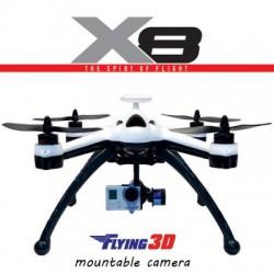 Квадрокоптер 350-го размера с б/к моторами и GPS-датчиком Flying 3D X8.  Установка на него комплекта FPV и стабилизированного подвеса с камерой.
