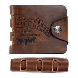 Кожаный мужской бумажник (кошелек) - двойная книжка с молнией