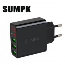 Популярная зарядка Sumpk на 3 USB со встроенным тестером (5V 3А/15W)
