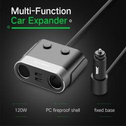 Автомобильный разветвитель питания UGREEN: 2 гнезда прикуривателя + 2 порта USB.