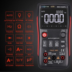 Мультиметр RICHMETERS RM409B True-RMS с необычными дисплеем, кнопочным селектором видов измерений и отличными углами обзора.