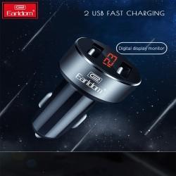Автомобильная USB зарядка Earldom на два порта c индикацией напряжения и тока.